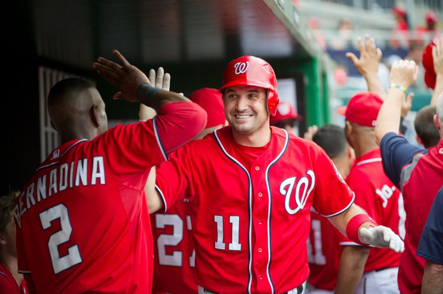 Nationals' Ryan Zimmerman (11) is greeted by Roger Bernadina (2) in the dugout after his two-run home run in the bottom of the second inning. (Rod Lamkey Jr./The Washington Times)