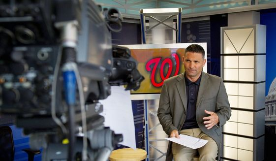 F.P. Santangelo, preparing for MASN's coverage of a recent Nationals game, took broadcasting classes at the University of Miami. The move would beneft him later in his professional life. (Rod Lamkey Jr./The Washington Times) **FILE**