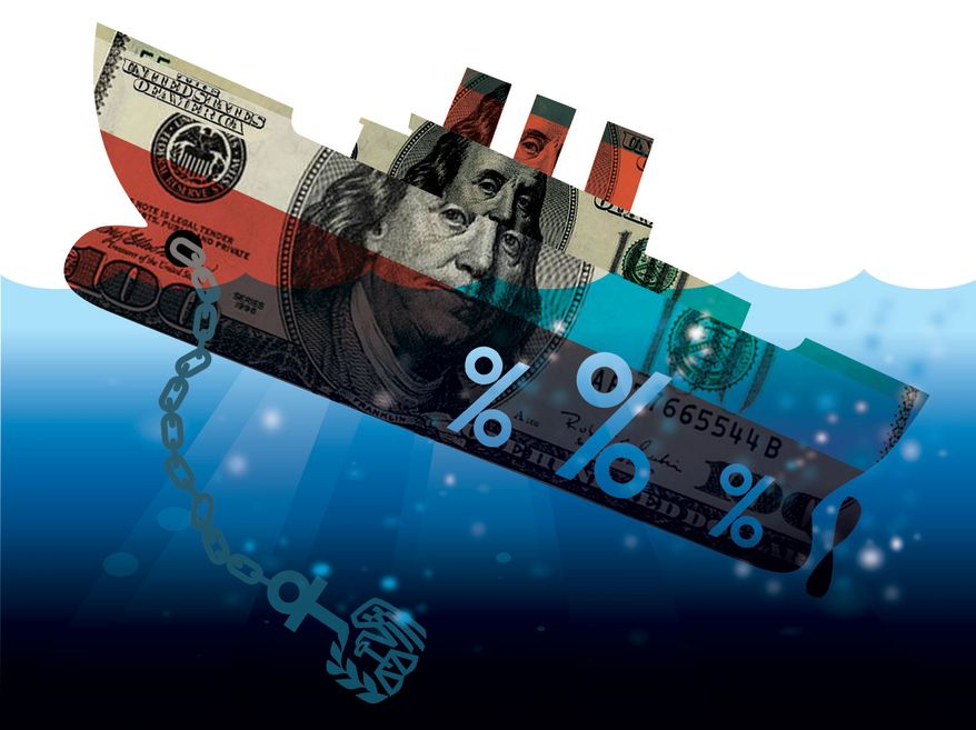 Illustration Sinking Money Ship by Linas Garsys for The Washington Times