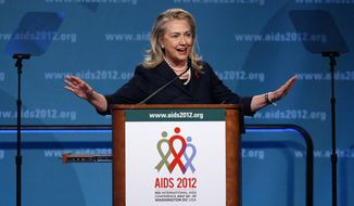 Secretary of State Hillary Rodham Clinton speaks at the XIX International AIDS Conference, Monday, July 23, 2012, in Washington. (AP Photo/Carolyn Kaster)