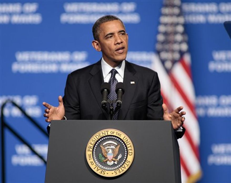 President Obama addresses the 113th National Convention of the Veterans of Foreign Wars in Reno, Nev. Monday, July 23, 2012. (Associated Press)