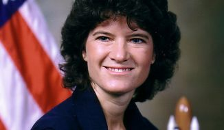 This undated photo released by NASA shows astronaut Sally Ride, the first American woman in space. (Associated Press/NASA). File photo.
