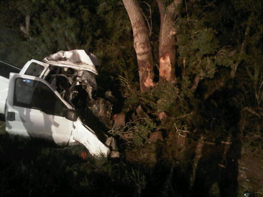 In a photo provided by the Texas Department of Public Safety, the wreckage of a pickup truck is seen after it crashed into trees in Goliad County, Texas, Sunday, July 22, 2012. (AP Photo/Texas Department of Public Safety)