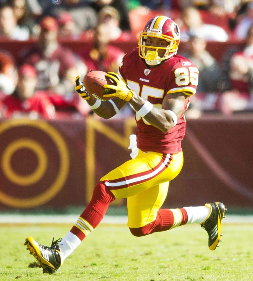 Washington Redskins wide receiver Leonard Hankerson (85) carries the ball against the San Francisco 49ers at FedEx Field in Landover, Md. Sunday, November 6, 2011. (Rod Lamkey Jr. / The Washington Times)