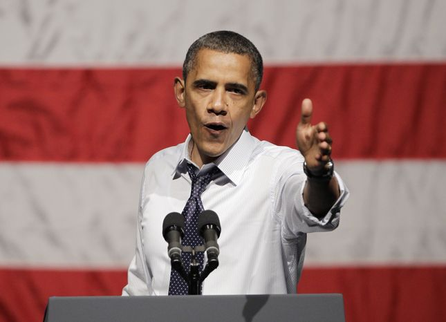 **FILE** President Obama speaks July 23, 2012, during at a campaign stop in Oakland, Calif. (Associated Press)