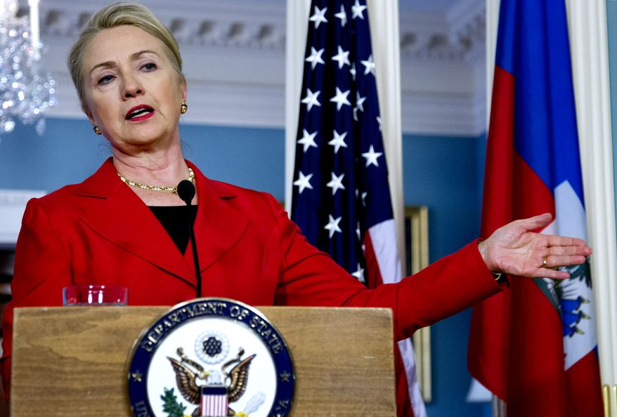 Secretary of State Hillary Rodham Clinton speaks at a news conference with Haitian Prime Minister Laurent Lamothe (not seen) on Tuesday, July 24, 2012, in Washington. (AP Photo/Carolyn Kaster)