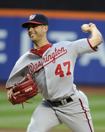 Coming off his worst start of the season, Gio Gonzalez had one of his best ones, giving up two hits in seven innings to earn his 13th win of the season, tying him for the National League lead with R.A. Dickey. (AP Photo/Kathy Kmonicek)