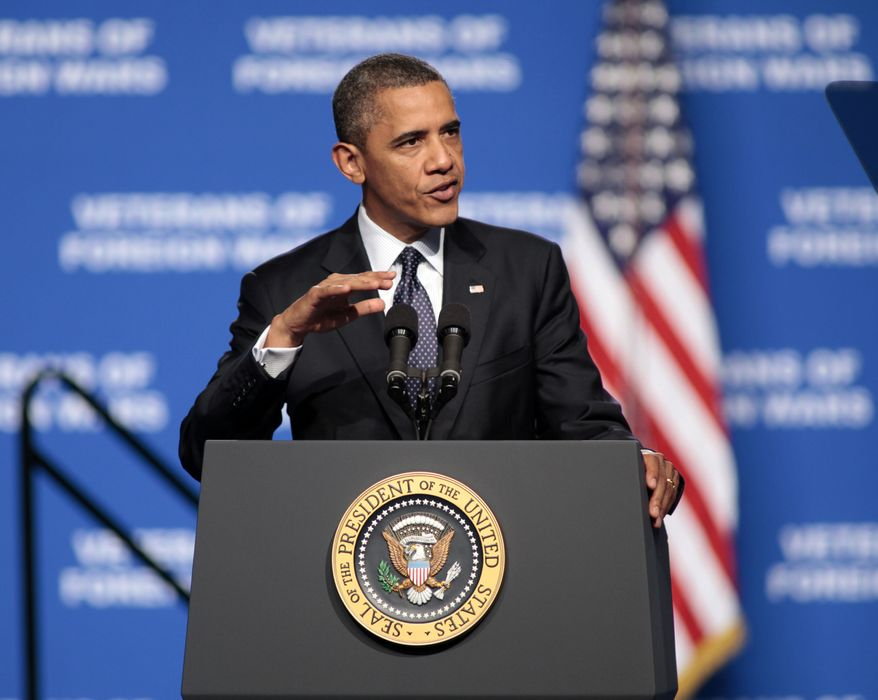 President Obama addresses the 113th National Convention of the Veterans of Foreign Wars in Reno, Nev., on July 23, 2012. (Associated Press)