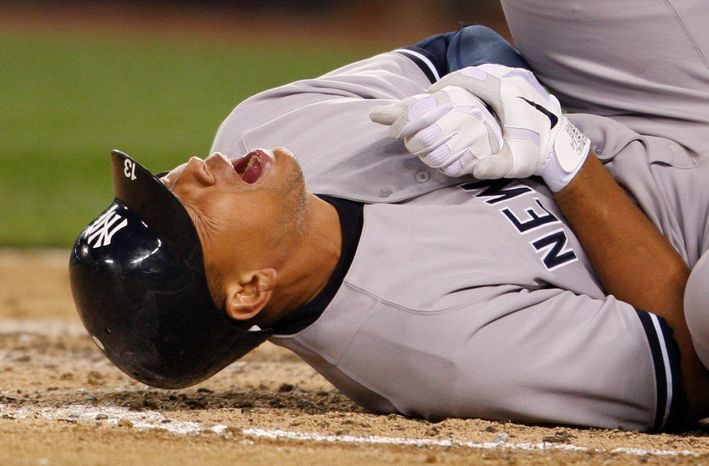 Yankees third baseman Alex Rodriguez went on the disabled list with a fractured hand after he was hit by a pitch Tuesday night. Eric Chavez will take over at third base. Rodriguez was batting .328 over his past 16 games. (Associated Press)