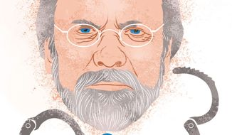 Illustration Corzine by Linas Garsys for The Washington Times
