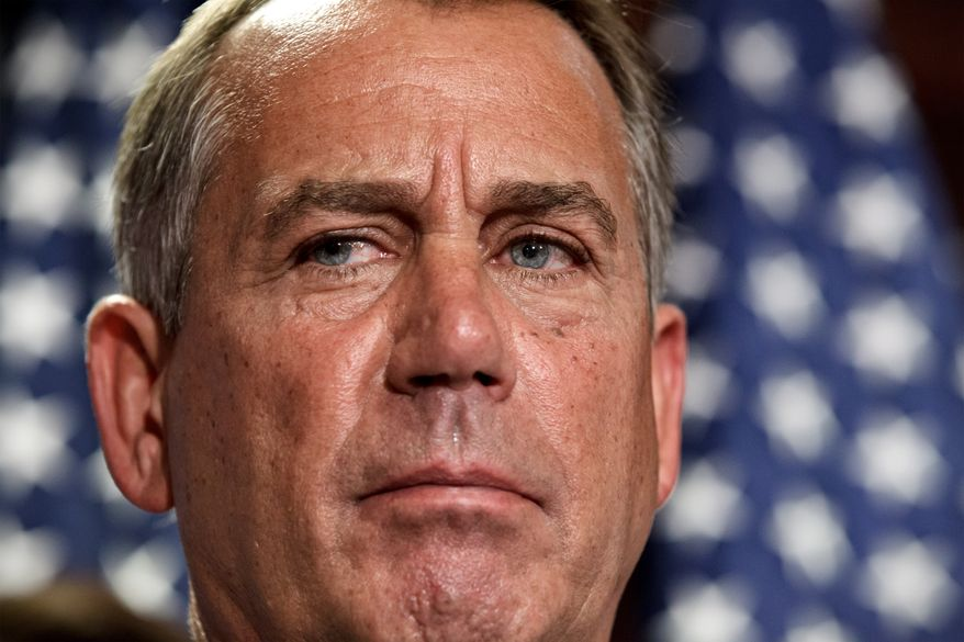 House Speaker John Boehner, Ohio Republican, talks July 24, 2012, to reporters following a closed-door political strategy session at the Capitol in Washington. (Associated Press)