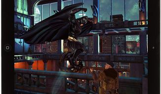 Batman pounces in the iPad game The Dark Knight Returns.