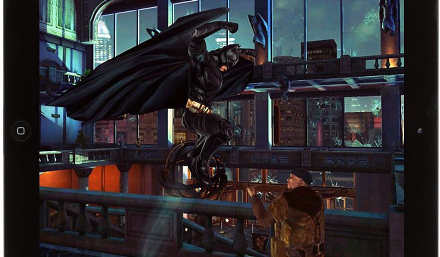 Batman pounces in the iPad game The Dark Knight Returns.