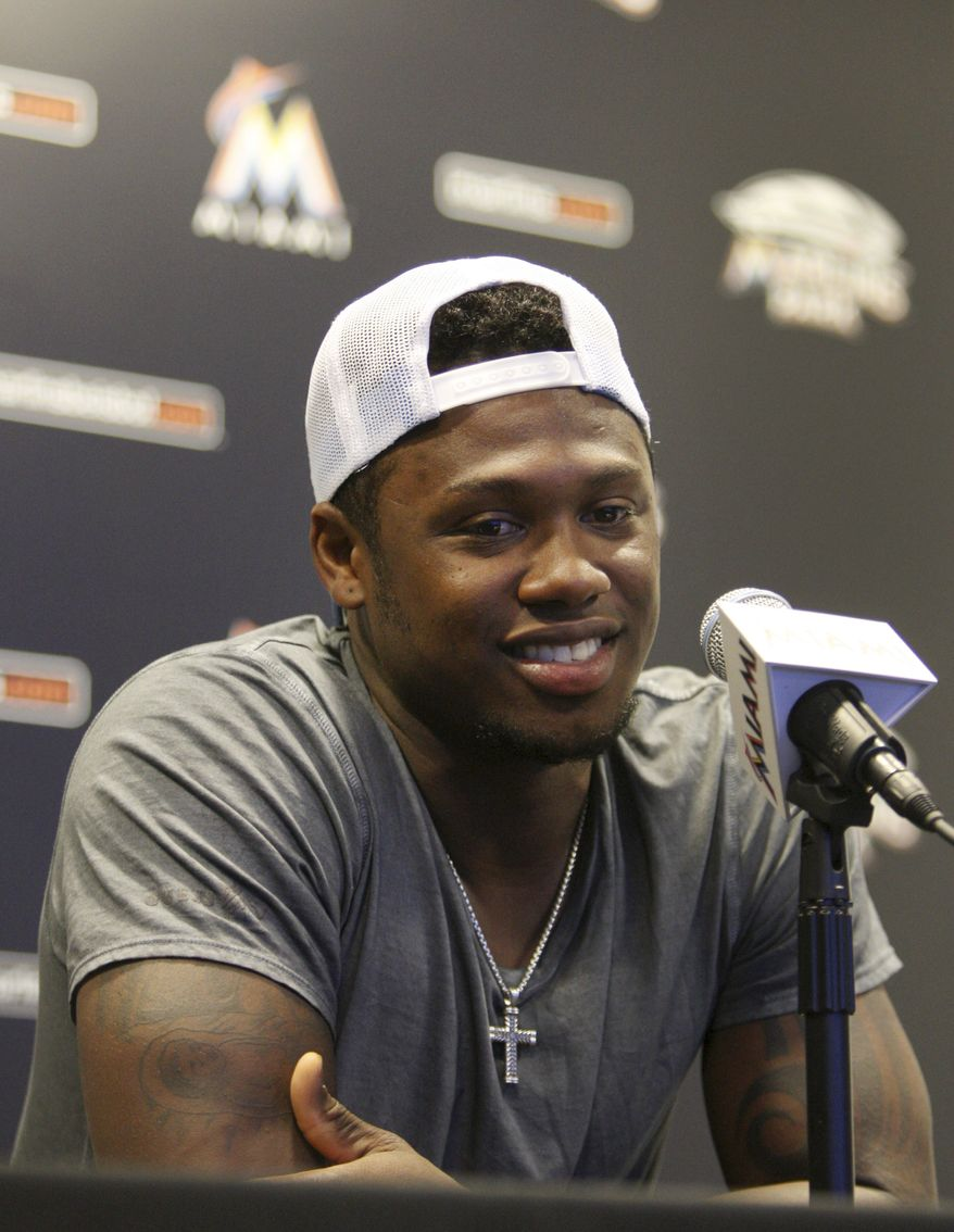 Former Miami Marlins third baseman Hanley Ramirez speaks July 25, 2012, during a news conference in Miami where he talked about his trade to the Los Angeles Dodgers. (Associated Press)
