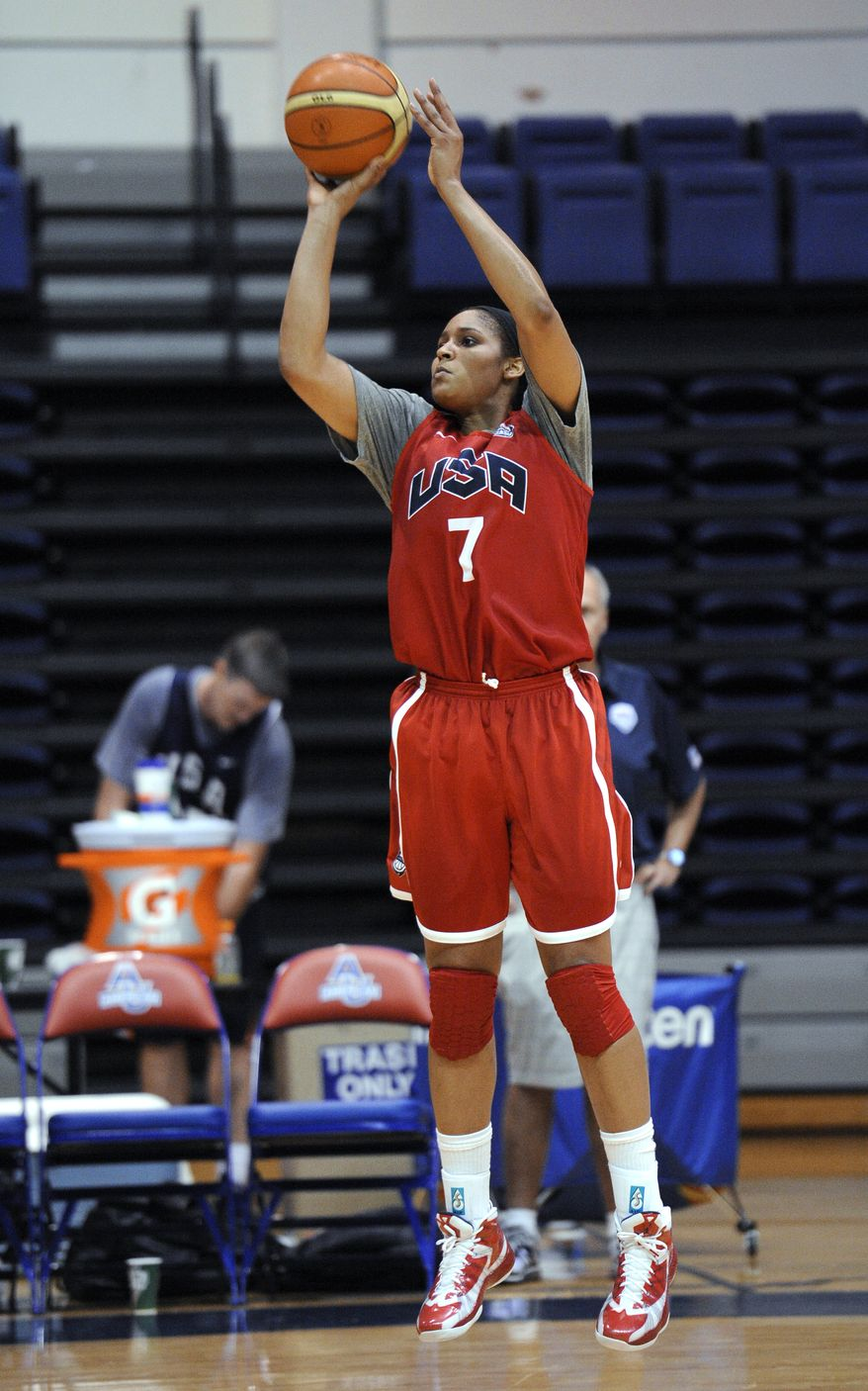 U.S. women's Olympic basketball team forward Maya Moore takes a shot during practice, Saturday, July 14, 2012, in Washington. (AP Photo/Nick Wass)