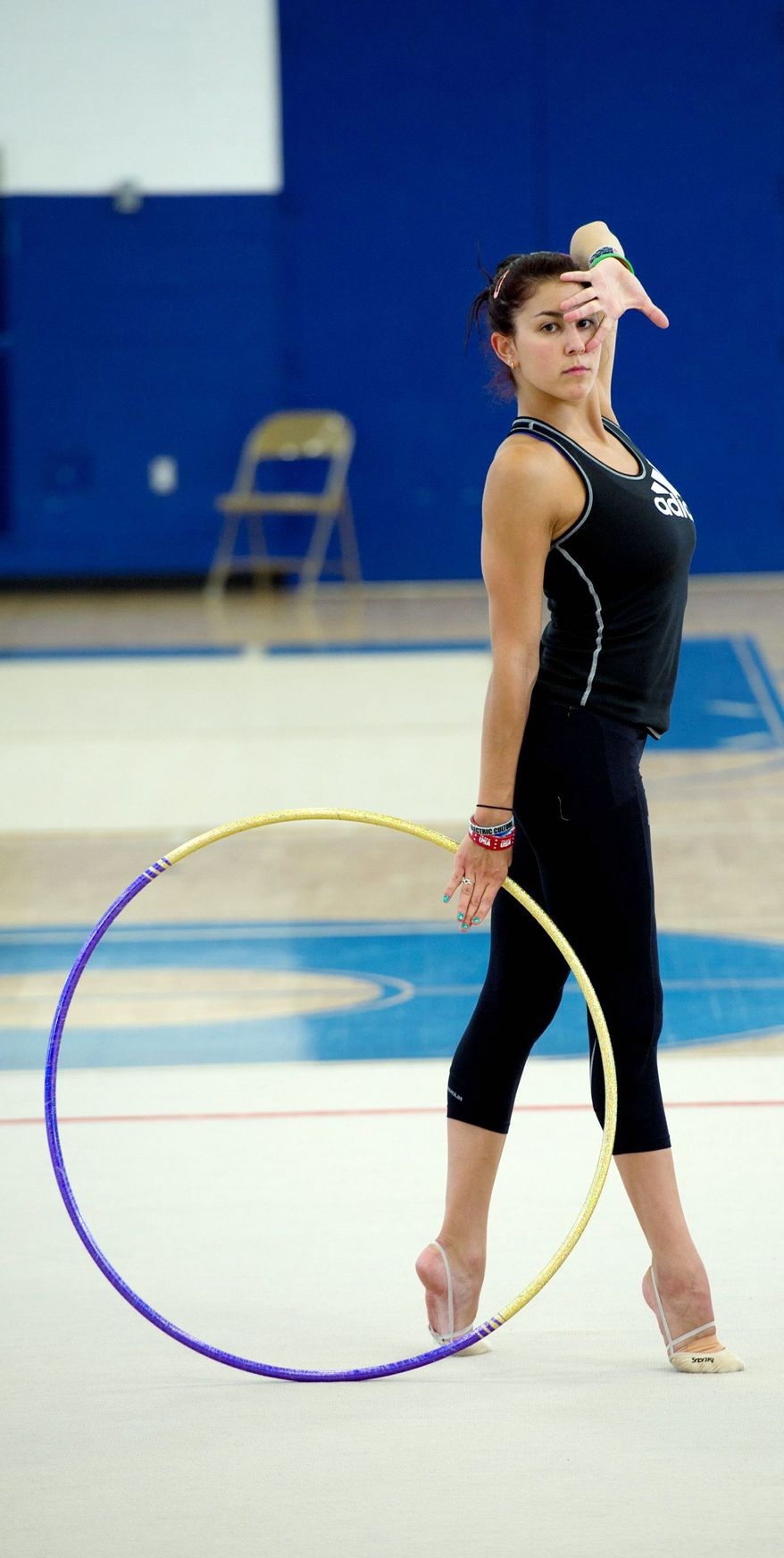 Bethesda, Md. native Julie Zetlin practices at the Katie Fitzgerald Youth Recreation Center in Darnestown, Md., on Wednesday, July 25, 2012 before heading to London to represent the United States in rythmic gymnastics in the 2012 Olympics. The 22-year-old has been doing rythmic gymastics for 18 years. She will compete Aug. 9 and 10. (Barbara L. Salisbury/The Washington Times)