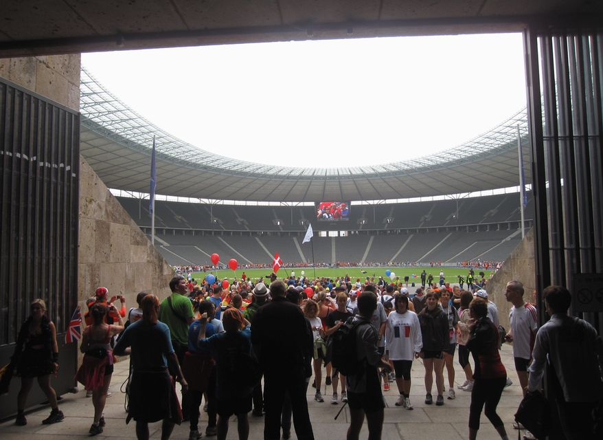 Fun run participants in 2010 fill the tunnel used in 1936 by runners finishing the Berlin Olympics marathon. (Associeted Press)