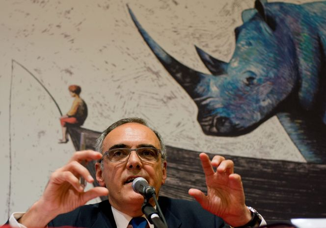 Artistic Director of the 69th edition of the Venice Film Festival Alberto Barbera speaks during a press conference to present the 69th edition of the festival in Rome, Thursday, July 26, 2012. In the background, a sketch from the video intro of the festival. (Associated Press)