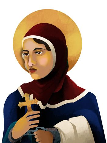 Illustration Coptic Woman by Linas Garsys for The Washington Times