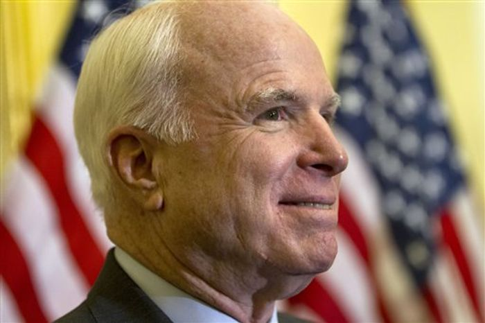 Sen. John McCain, Arizona Republican, attends a news conference about the Convention of the Rights of Persons with Disabilities, Thursday, July 12, 2012, on Capitol Hill. (AP Photo/Jacquelyn Martin)