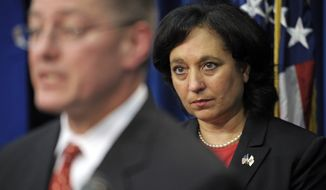 James Chaparro, acting director of Immigration and Customs Enforcement (ICE), speaks July 26, 2012, at the Drug Enforcement Administration (DEA) headquarters in Arlington, Va., during a DEA announcement of a nationwide synthetic drug takedown. In the background is Michele Leonhart, DEA administrator. (Associated Press)
