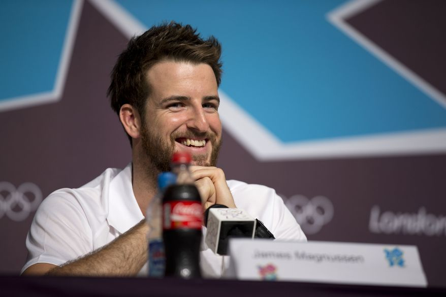 Australian swimmer James Magnussen smiles during a news conference in the Main Press Centre at the 2012 Summer Olympics, Monday, July 23, 2012, in London. (AP Photo/Matt Dunham)