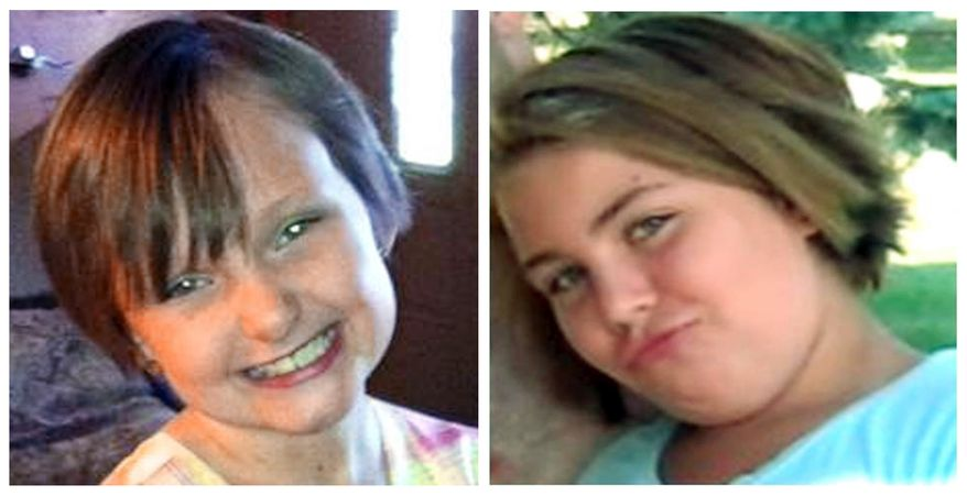 This combo made from undated photos provided by the FBI shows cousins Lyric Cook (right), 10, and Elizabeth Collins, 8, who have been missing since July 13, 2012. (Associated Press