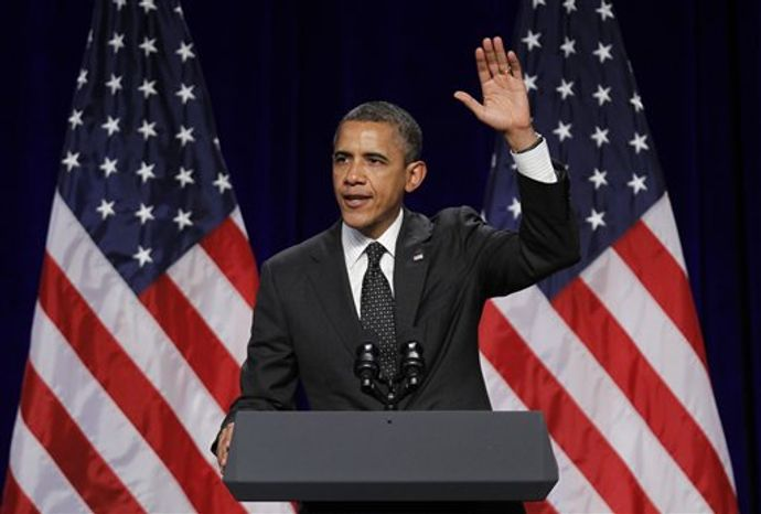 President Obama speaks July 24, 2012, at the Oregon Convention Center in Portland, Ore. (Associated Press)