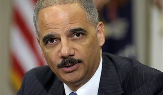 **FILE** Attorney General Eric Holder speaks in the Cabinet Room of the White House, Thursday, July 26, 2012, where he announced the formation of a public-private partnership to fight fraud in the health care system. (Associated Press)