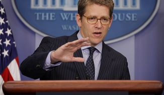 White House spokesman Jay Carney speaks July 26, 2012, during his daily news briefing at the White House in Washington. (Associated Press)