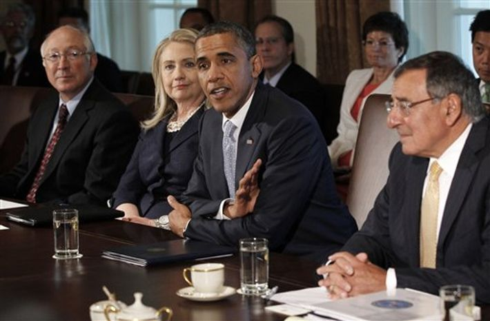 President Obama meets with members of his cabinet in the Cabinet Room of the White House, Thursday, July, 26, 2012. From left are, Interior Secretary Ken Salazar, Secreatry of State Hillary Rodham Clinton, the president and Defense Secretary Leon Panetta. (AP Photo/Pablo Martinez Monsivais)