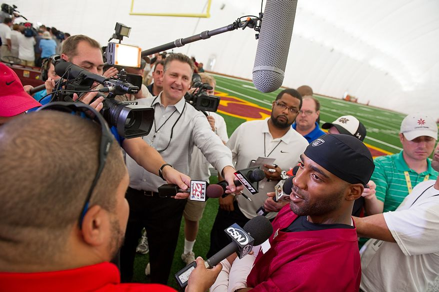Washington Redskins DeAngelo Hall speaks with members of the media following morning walkthroughs on the first day of training camp at Redskins Park, Ashburn, Va., Thursday, July 26, 2012. (Andrew Harnik/The Washington Times)