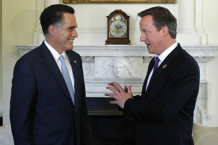 Republican presidential candidate Mitt Romney meets July 26, 2012, with British Prime Minister David Cameron at 10 Downing Street in London. (Associated Press)