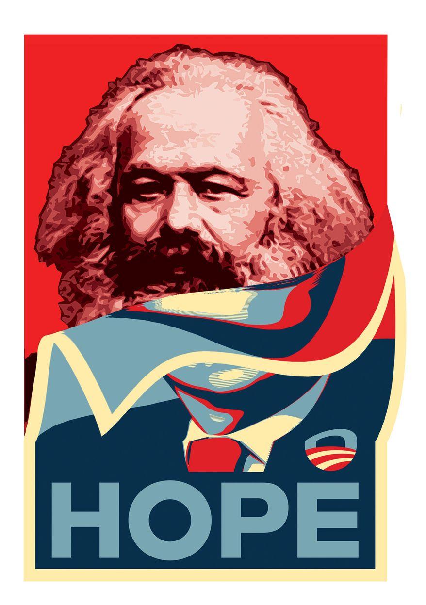 Illustration Marx Obama by Alexander Hunter for The Washington Times