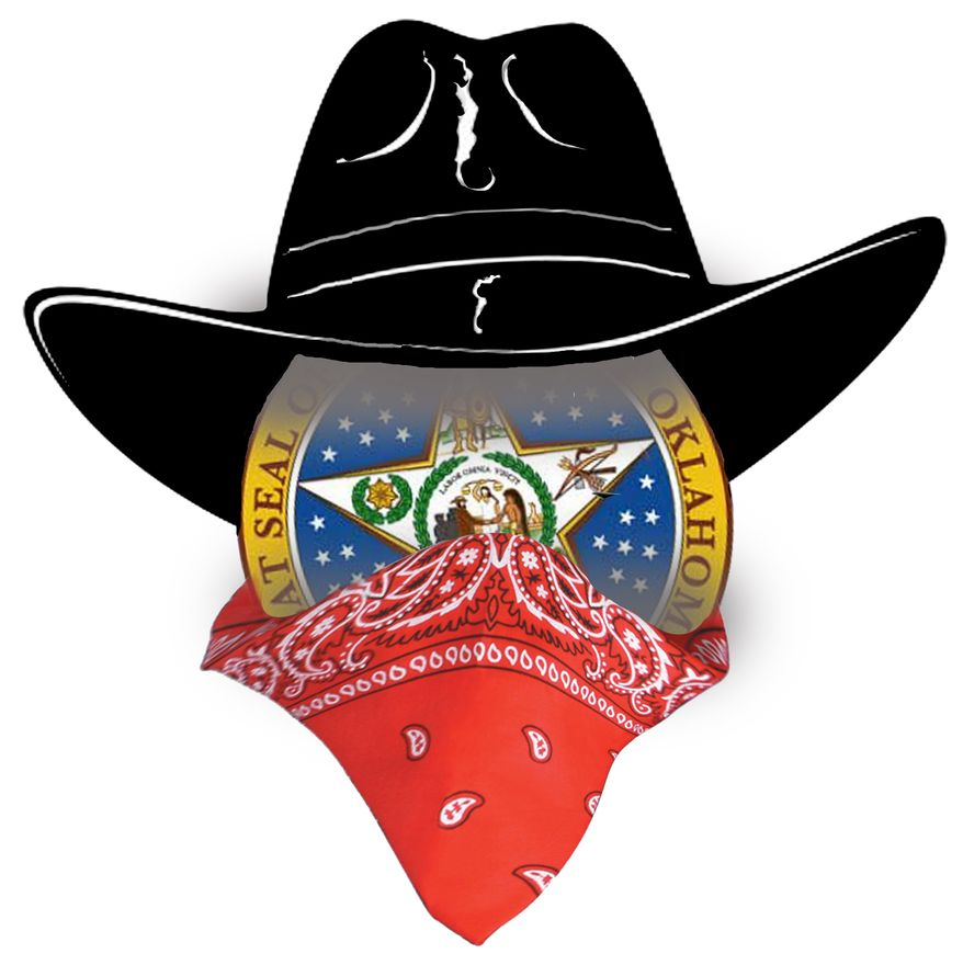 Illustration Oklahoma Bandit by John Camejo for The Washington Times