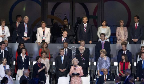 Queen Elizabeth II declares the games open at the Olympic Games Opening ceremonies in London on Friday July 27, 2012. (AP Photo/The Canadian Press, Frank Gunn)