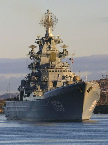** FILE ** In this October 2001 file photo, the Pyotr Velikiy, Peter the Great, Russian nuclear-powered missile cruiser is seen near Severomorsk, Russia. Vice Admiral Viktor Chirkov, Russia's navy chief says Friday, July 27, 2012, that Moscow is talking to Cuba, Vietnam and the Seychelles about housing Russian navy ships. (AP Photo/Dmitry Lovetsky, File)