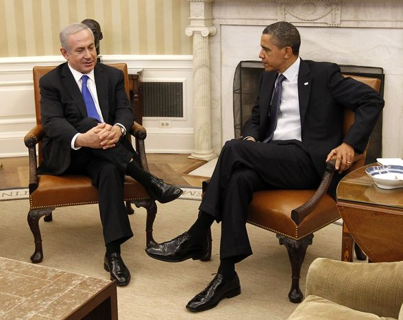 ** FILE ** President Obama meets with Israeli Prime Minister Benjamin Netanyahu in the Oval Office at the White House in Washington on Monday, March 5, 2012. (Associated Press)
