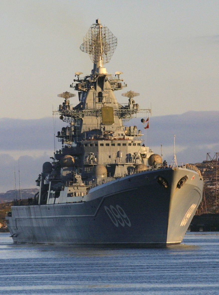 In this October, 2001 file photo the Pyotr Velikiy, Peter the Great, Russian nuclear-powered missile cruiser seen near Severomorsk, Russia. (AP Photo/Dmitry Lovetsky, File)