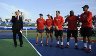 From left to right, Washington Kastles' owner Mark Ein, players Anastasia Rodionova, Arina Rodionova, Bobby Reynolds, Leander Paes and coach Murphy Jensen, before they played the New York Sportimes in a World TeamTennis match, Thursday, July 12, 2012, in Washington. (AP Photo/Nick Wass)