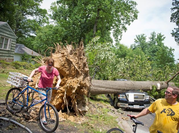 Erin Hodges and her fiance John Hopewell of Falls Church get around the destruction in the front yard of Mike Wolfe on North Virginia Avenue in Falls Church, two days after the derecho brought down trees and left more than 1 million people in the Washington area without power. The health of trees is often a clue to their vulnerability to high winds, but not always. (Rod Lamkey Jr./The Washington Times)
