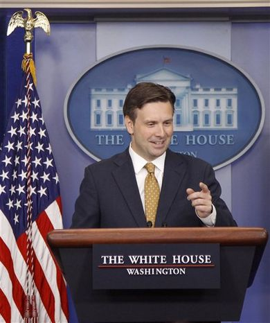 White House Deputy Press Secretary Josh Earnest speaks during the daily briefing, Monday, July 30, 2012, at the White House. (Associated Press)