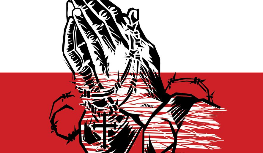 Illustration Praying Hands by Linas Garsys for The Washington Times