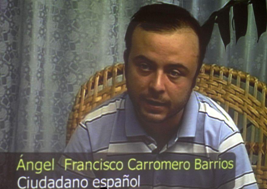 Spanish citizen Angel Francisco Carromero speaks during a press conference via pretaped video footage that was shown during a press conference organized by Cuba's International Press Center, in Havana, Cuba, Monday, July 30, 2012. (AP Photo/Franklin Reyes)