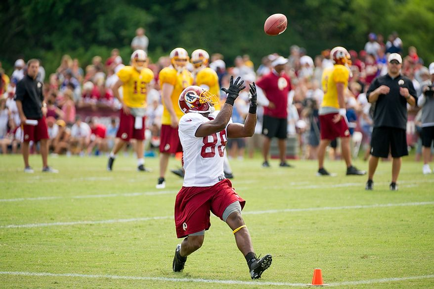 Washington Redskins wide receiver Pierre Garcon (88) makes a reception in the back of the end zone during afternoon practice during the Washington Redskins training camp at Redskins Park, Ashburn, Va., Washington, D.C., Monday, July 30, 2012. (Andrew Harnik/The Washington Times)