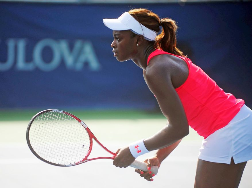 Sloane Stephens competes during her doubles match with Anna Chakvetadze against Melinda Czink and Janette Husarova at the Citi Open tennis tournament, at the William H.G. FitzGerald Tennis Center, Washington D.C., Sunday, July 29, 2012. (Ryan M.L. Young/The Washington Times)