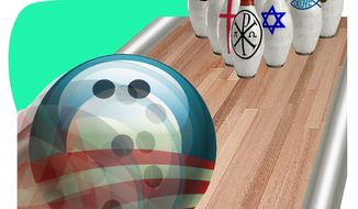 Illustration Bowling Over Religion by Alexander Hunter for The Washington Times