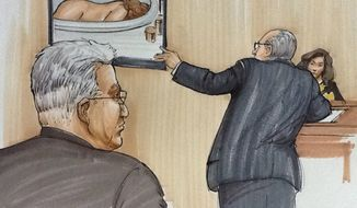 In this courtroom sketch from July 31, 2012, Drew Peterson (foreground left) looks on during the first day of Drew Peterson's murder trial in Joliet, Ill., while defense attorney Joe Lopez cross examines Kathleen Savio's neighbor, Mary Pontarelli, as they view a photo of Savio's lifeless body in the tub of her home. Peterson is charged in the 2004 death of Savio, his third wife. (Associated Press)