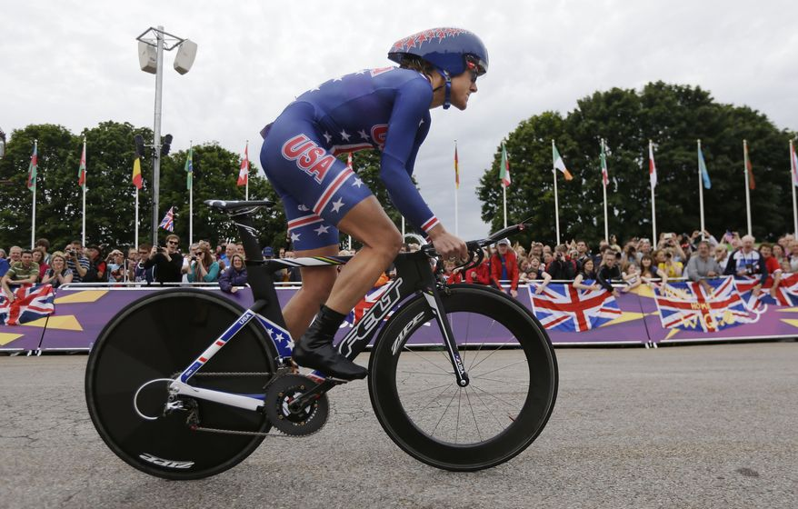 U.S. cyclist Kristin Armstrong competes Aug. 1, 2012, in the women's individual time trial cycling event at the 2012 Summer Olympics in London. (Associated Press)