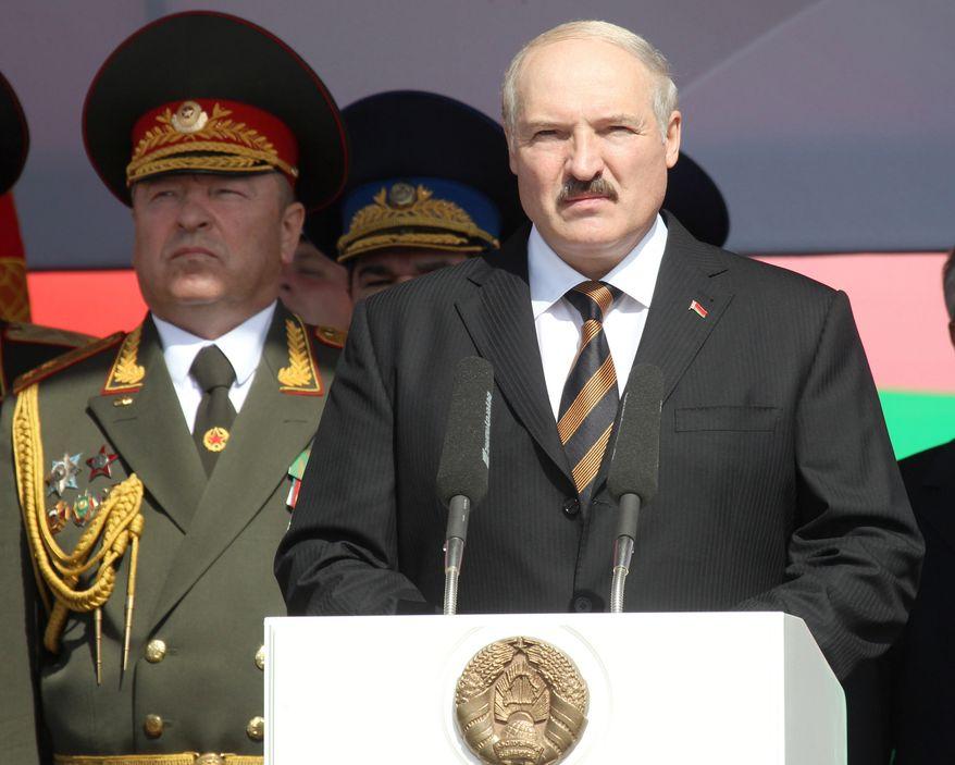 **FILE** Belarus President Alexander Lukashenko speaks July 3, 2012, during a parade marking Independence Day in Minsk, Belarus. (Associated Press/BelTA)